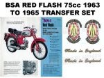 BSA Red Flash 75cc 1963 to 1965 Transfer Decal Set